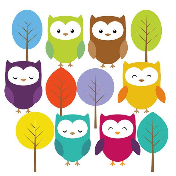 Cute owl and trees clip art set Like, share http://www.