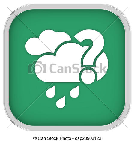 Clip Art of Likely cloudy with small amount of rain sign on a.