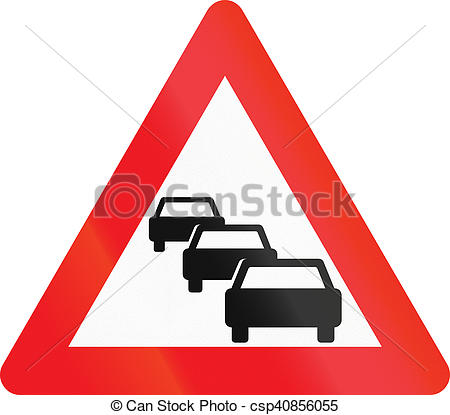 Stock Illustrations of Warning road sign used in Denmark.