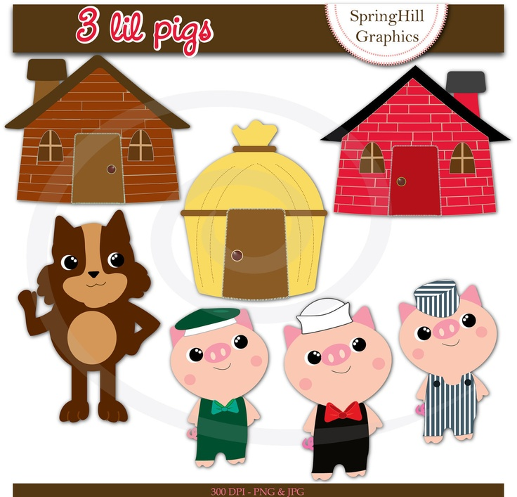 Clip Art Three Pigs Clipart.