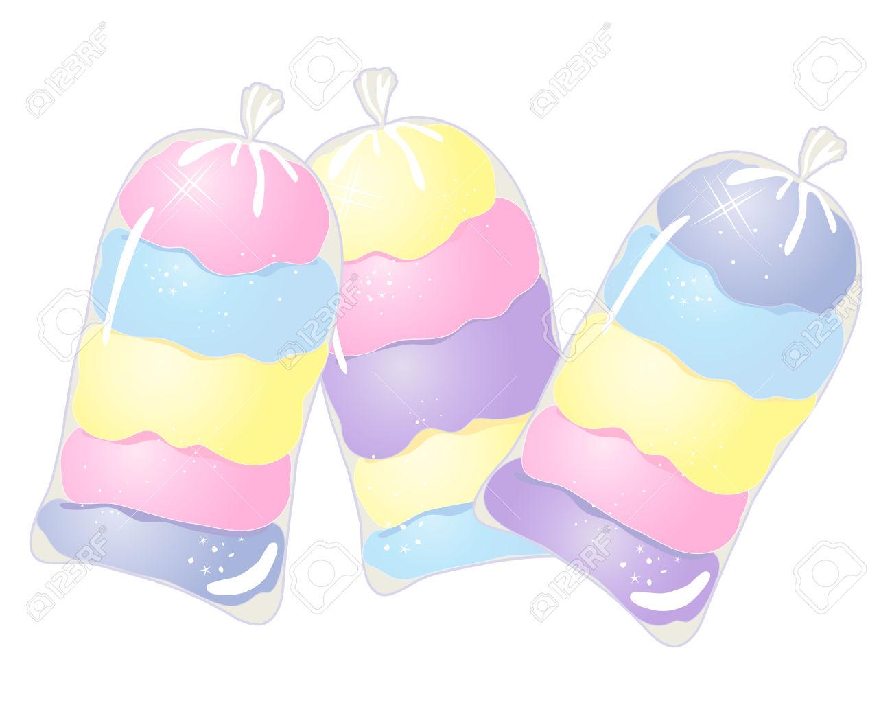 Eine Darstellung Von Drei Klar Taschen Aus Bunten Zuckerwatte In.