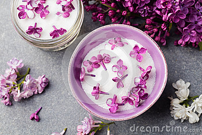Essential Oil With Purple Lilac On White Background Stock Vector.