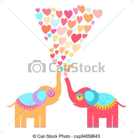 EPS Vector of Two cute orange and red elephants with pink lilac.