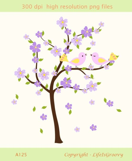 love birds with spring flowering tree lavender lilac blue purple.