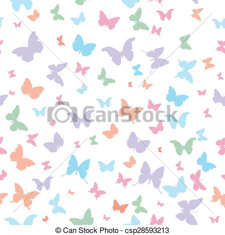 Vector Clip Art of butterflies pink lilac blue green isolated.