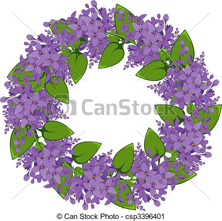 Vector Clip Art of Vector wreath of twigs of lilac. EPS 8, AI.