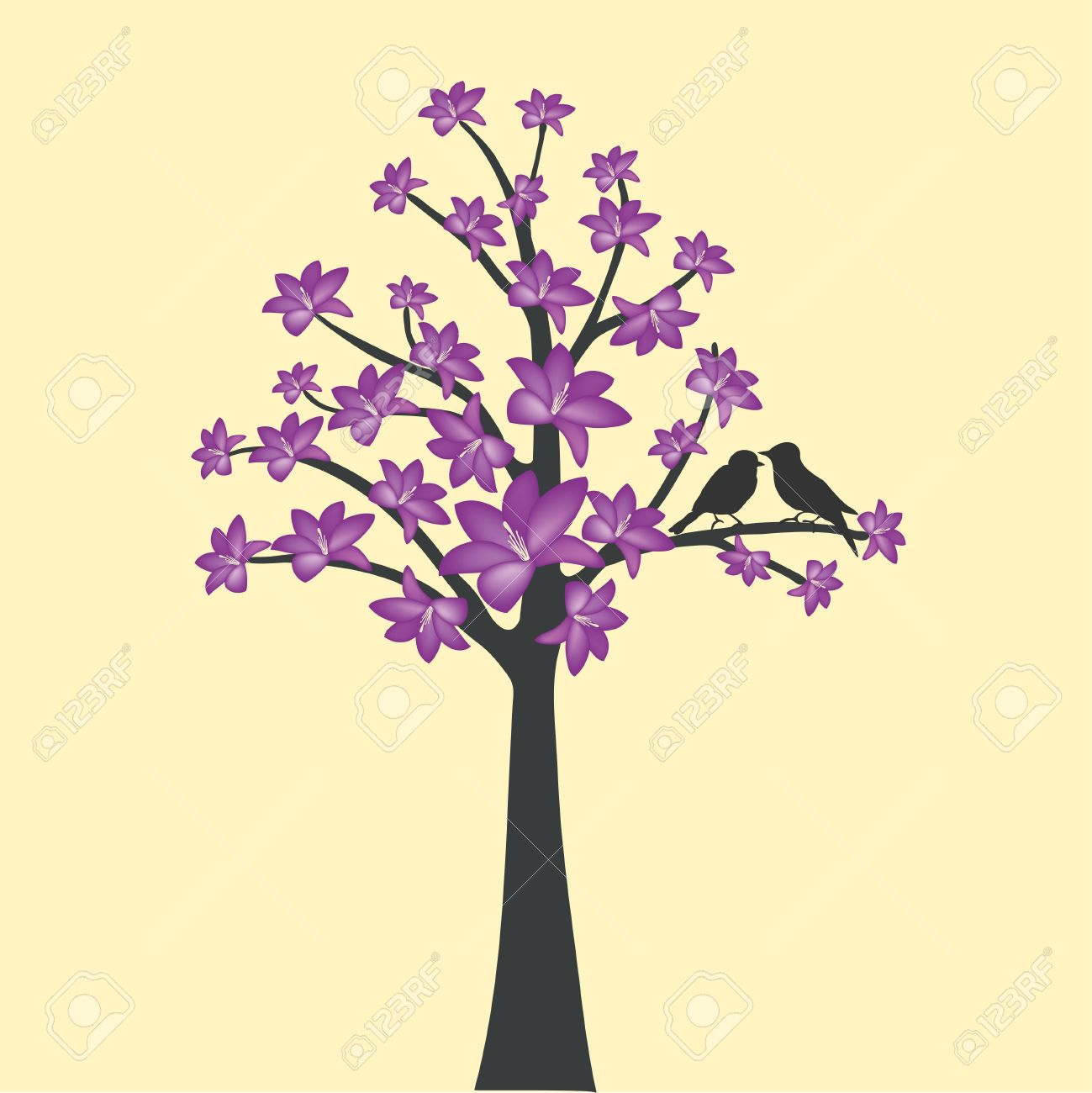 Card With Floral Tree And Love Bird Royalty Free Cliparts, Vectors.