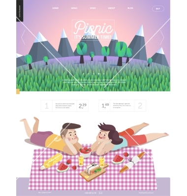 Picnic web template with lilac sky vector by grivina.