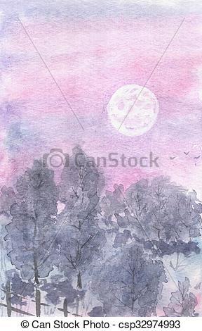 Stock Illustration of Watercolor landscape moonlit night, lilac.