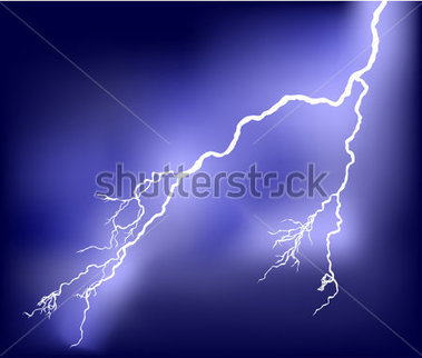 Illustration With Bright Lightning IN Lilac Sky stock vector.