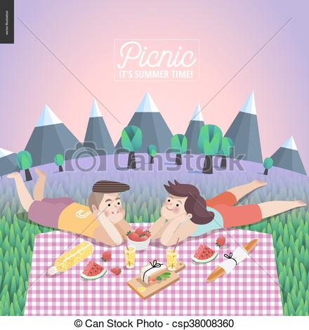 Clip Art Vector of Young couple on picnic, template with lilac sky.