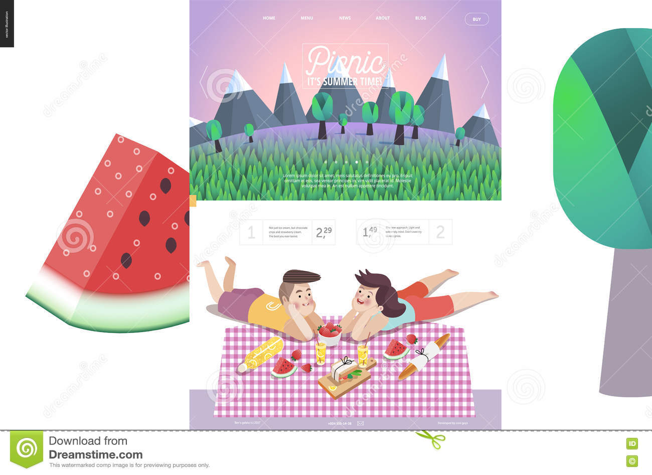 Picnic, Web Template With Lilac Sky Stock Illustration.