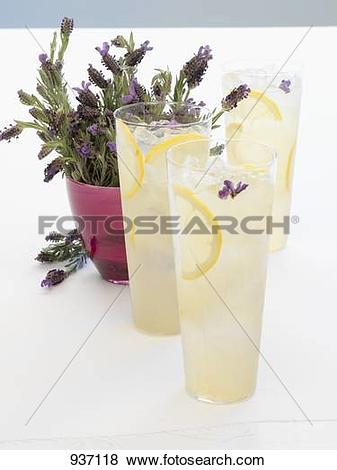Pictures of 3 glasses of lavender lemonade, lavender flowers.