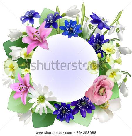 Bouquet Spring Flowers Forest Elegant Frame Stock Vector 343519136.