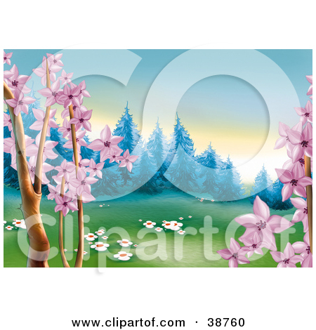 Clipart Illustration of Pink Spring Tree Blossoms And White.