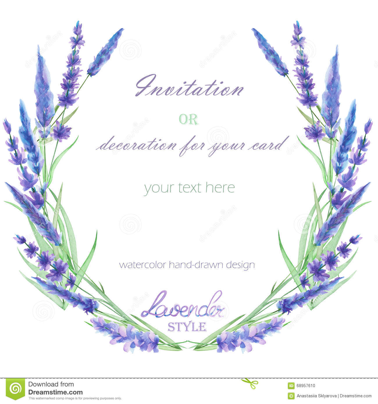 A Circle Frame, Wreath, Frame Border With The Watercolor Lavender.
