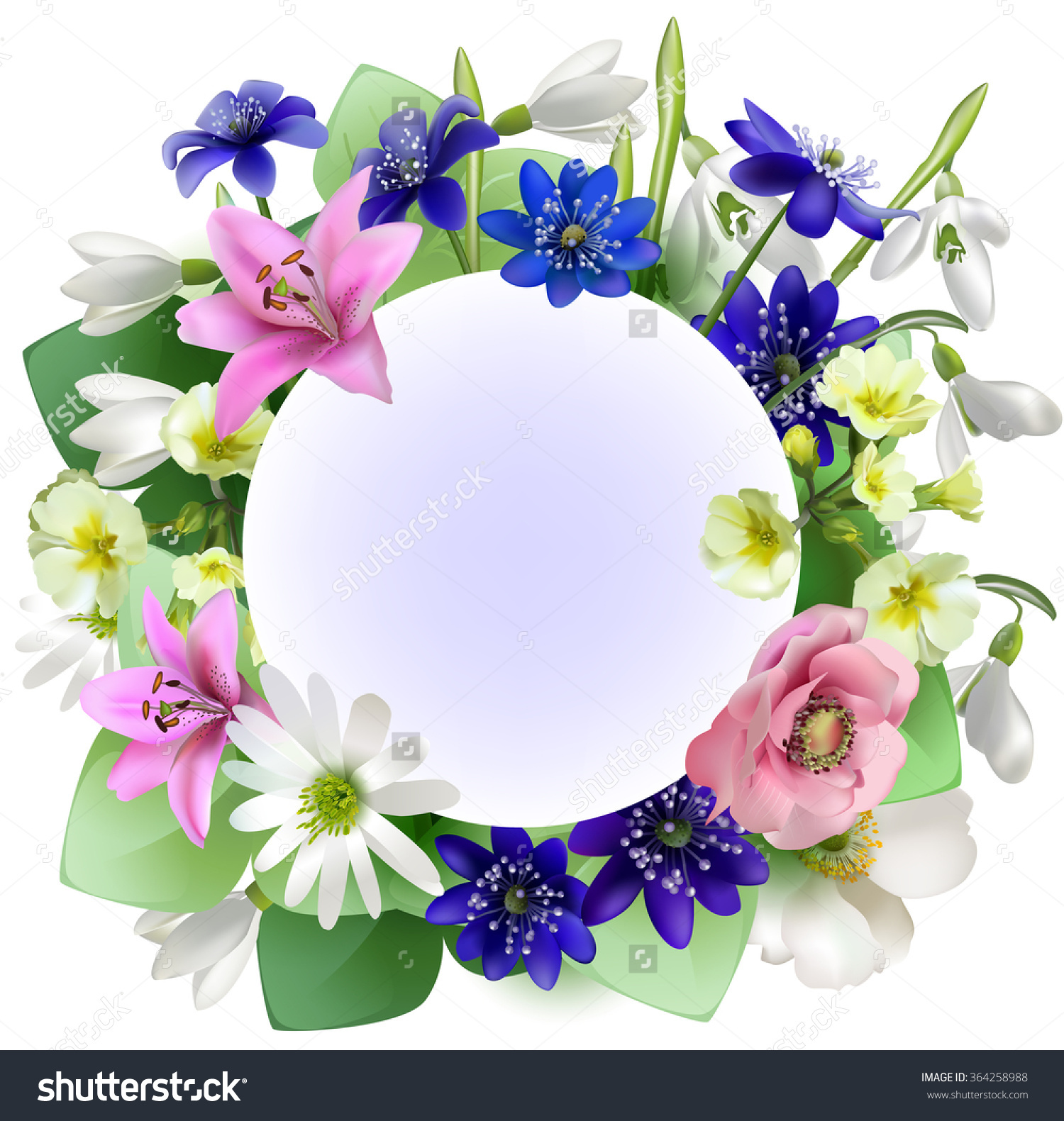 Bouquet Snowdropsanemones Spring Forest Flowers Vector Stock.