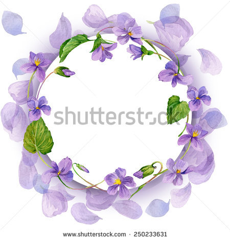 Vector Illustration Watercolor Floral Frame Purple Stock Vector.