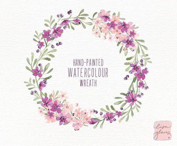 Watercolor wreath: floral wreath clipart / Wedding invitation clip.