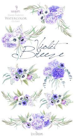 """Floral clip art: """"ROSE BOUQUET"""" hand painted watercolor clip art."""