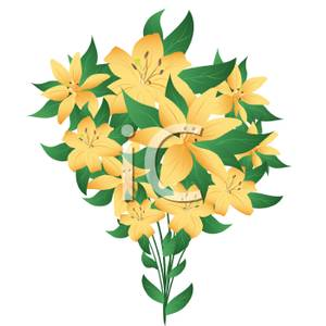Cluster of Yellow Lilies Clipart Image.