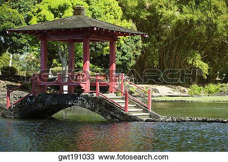 Stock Photo of Gazebo in a park, Liliuokalani Park And Gardens.