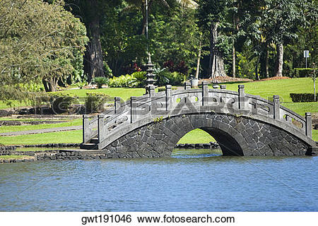 Stock Images of Pond in a park, Liliuokalani Park And Gardens.