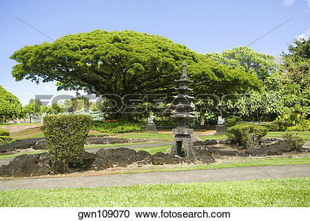 Stock Photography of Structure at the roadside, Liliuokalani Park.