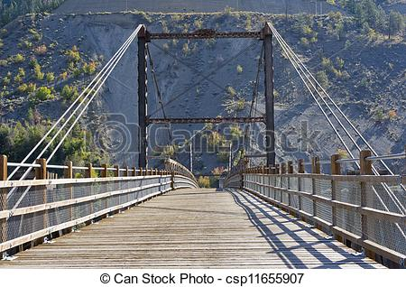 Stock Photography of The old bridge at Lillooet, BC.
