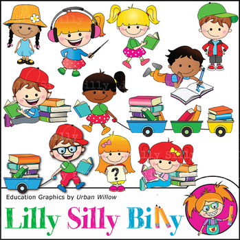 Clipart I Love Books {Lilly Silly Billy}.