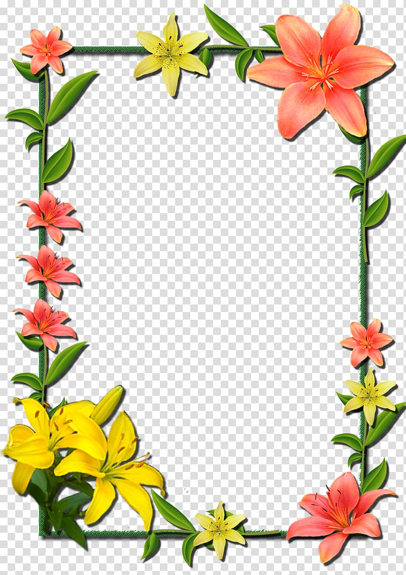 Orange and lily flower border , Borders and Frames Frames.