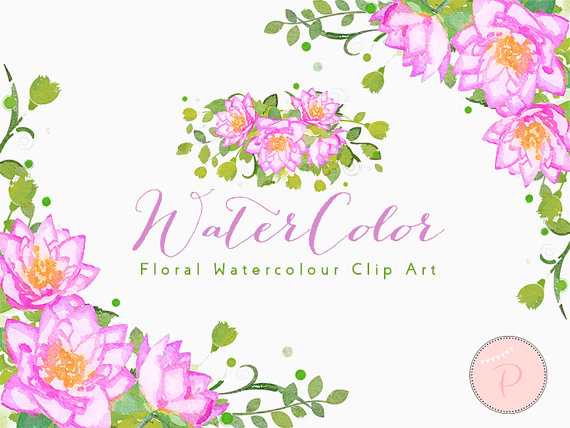 Watercolor Flower, Light Pink Dahlia Clip art, Watercolor Floral.