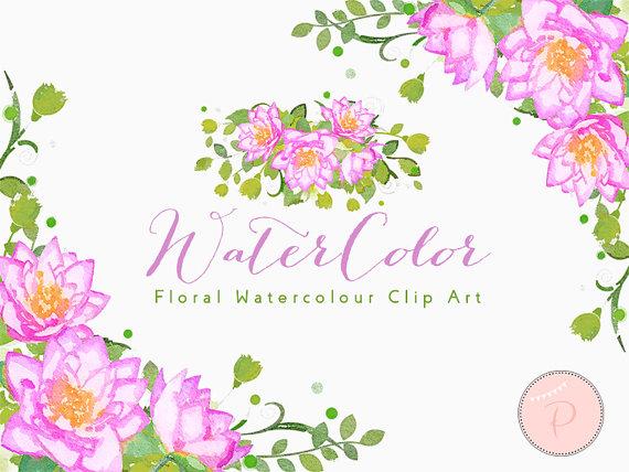 Watercolor Flower, Light Pink Dahlia Clip art, Watercolor Floral.
