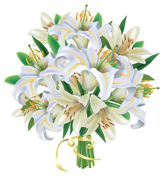 White and Pink Lilies Flowers Bouquet PNG Clipart Image.
