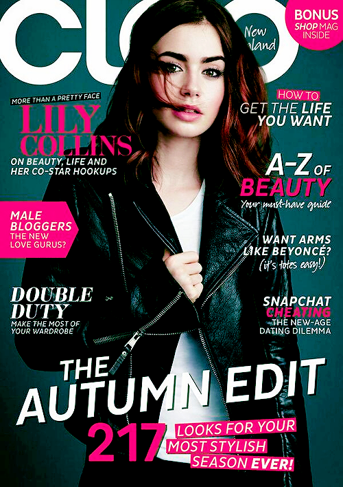 Daily Lily Collins — Lily on the cover of Cleo Magazine New.