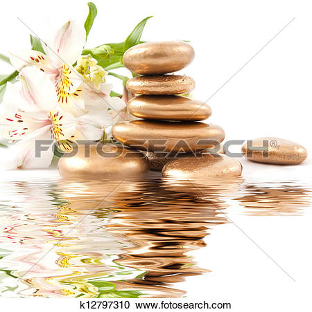 Stock Photography of Golden spa stone and lily k12797310.