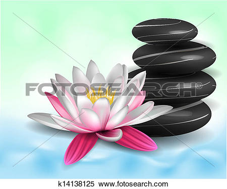 Clipart of Water lily and zen stones k14138125.