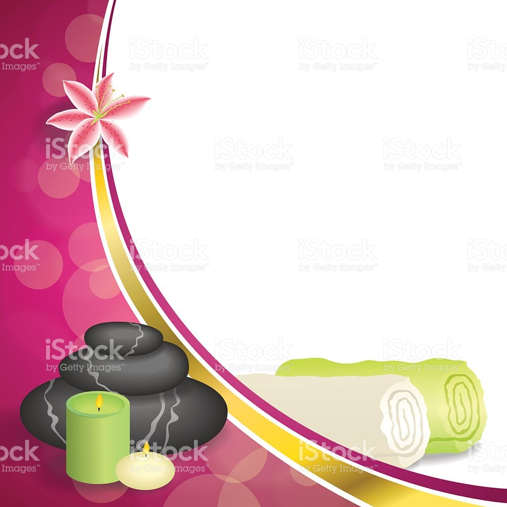 Background Pink Spa Salon Therapy Stones Candle Towel Lily Vector.