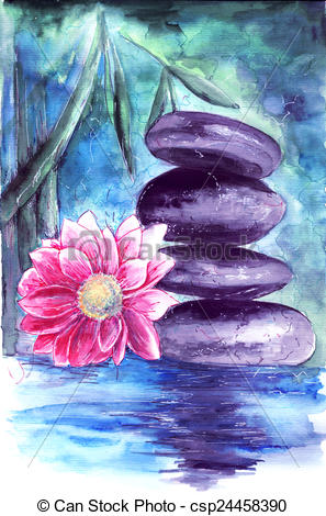 Stock Illustration of lotus and stones in water.