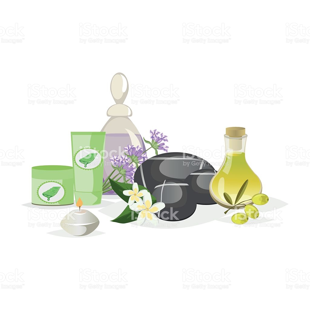 Spa Still Life Icons With Water Lily And Zen Stone stock vector.