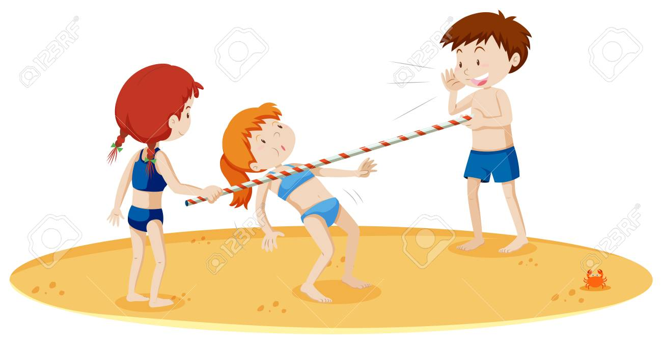 Teenagers Doing Limbo Dance at the Beach illustration.