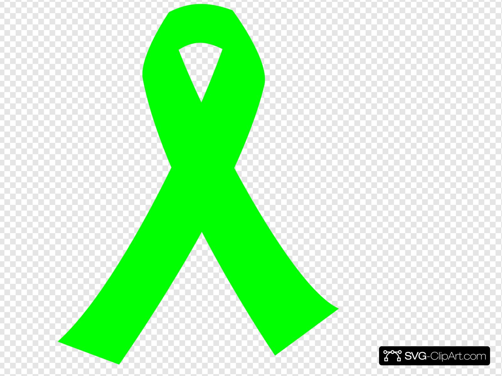 Lime Green Cancer Ribbon Clip art, Icon and SVG.