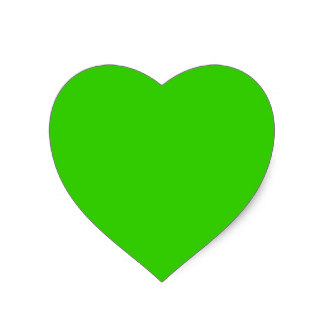 16+ Lime Green Love Heart Stickers.