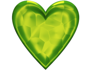 Heart D Jeweled Lime Green.