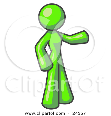 Clipart Illustration of a Lime Green Man With an Attitude, His.