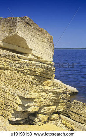 Stock Photo of Limestone cliffs, Hecla Provincial Park, Manitoba.
