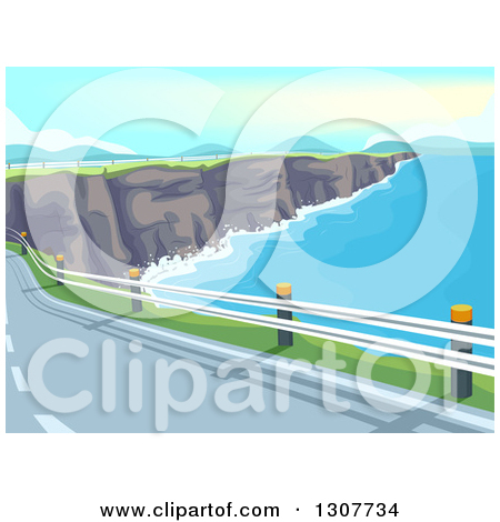 Clipart of a Coastal Road Along a Limestone Cliff and Ocean Bay.