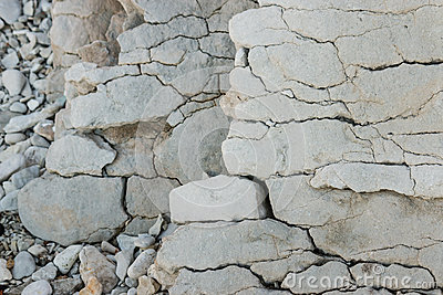 Closeup Of Limestone Rock Layers Stock Photo.