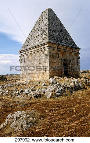 Stock Photo of Old structure on landscape, Limestone Massif, Syria.