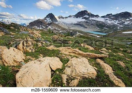 Stock Photograph of Russell Peak and Limestone Lakes Basin, Height.